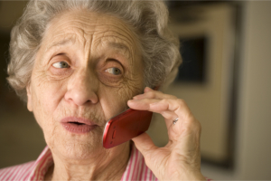 old lady using mobile phone
