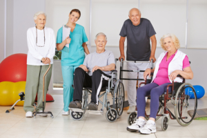 group of elderly and a caregiver