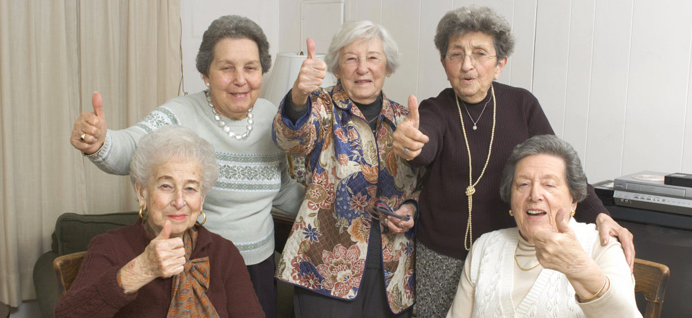 A group of elderly woman