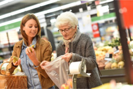 elder assisted in grocery shopping